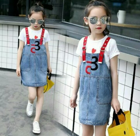 adulty dress 2 in1 setelan overall anak import