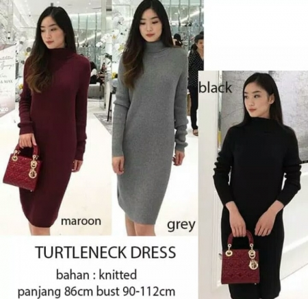 sweater wanita turtleneck dress