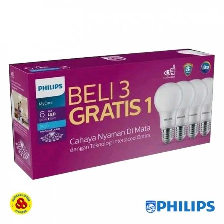 Lampu LED Philips Paket Bohlam LED Bulb isi 4 Putih